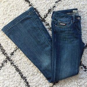Burberry blue medium wash flare leg jeans